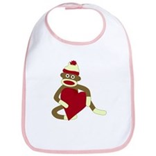 Sock Monkey Love Heart Baby Bib
