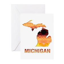 MICHIGAN MAP Greeting Cards