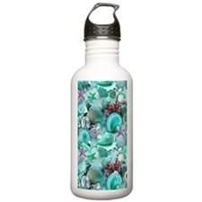 Green Seashells And starfish Water Bottle