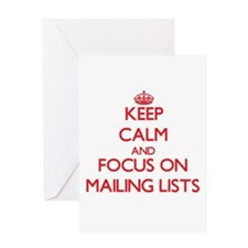 Keep Calm and focus on Mailing Lists Greeting Card