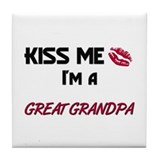 Kiss Me, I'm a GREAT GRANDPA Tile Coaster