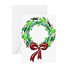 Shiny Laurel Leaf Wreath with Red Berries Bow Gree