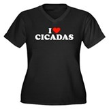 I Heart Cicadas Women's Plus Size V-Neck Dark T-Sh