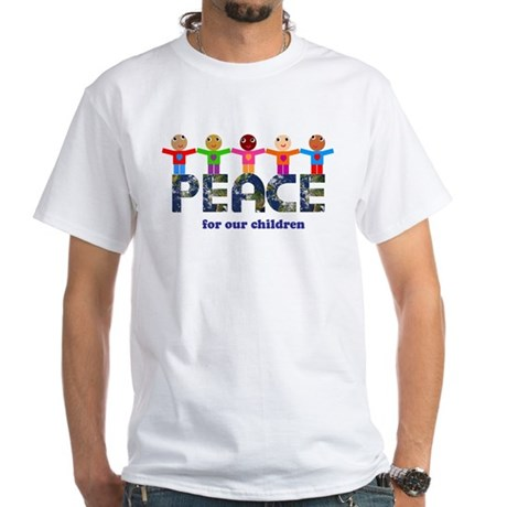 Peace for our children Men's White T-Shirt