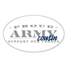 Proud Army Cousin (blue) Oval Decal