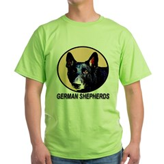 German Shepherds Tan Emblem Green T-Shirt