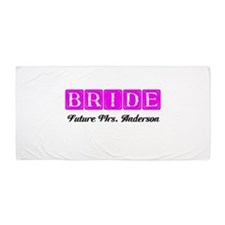 Hot Pink Bride Personalized Beach Towel