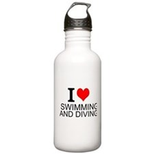 I Love Swimming And Diving Water Bottle