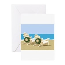 Beach Chairs with Wreaths Greeting Cards