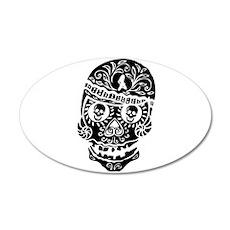 Mardi Gras Skull 20x12 Oval Wall Decal