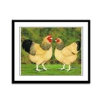 Wyandotte Rooster and Hen Framed Panel Print