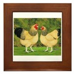 Wyandotte Rooster and Hen Framed Tile
