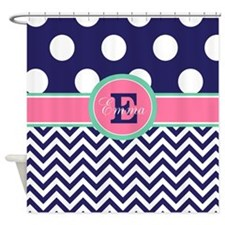 Cute Monogram navy Shower Curtain