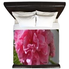 Double Pink Hollyhock Flower Bloom King Duvet