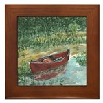 REd Canoe Art Framed Tile