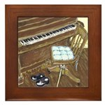 Piano and Chair Art Framed Tile