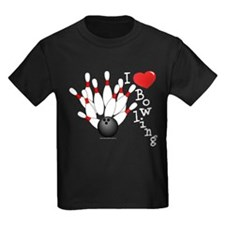 I Love Bowling Kids Black T-Shirt