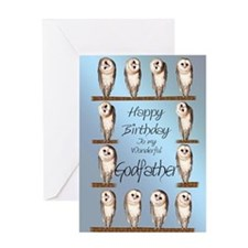 For godfather, curious owls birthday card. Greetin