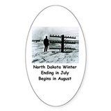 Winter in North Dakota Oval Decal