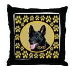 Solid Black GSD Throw Pillow