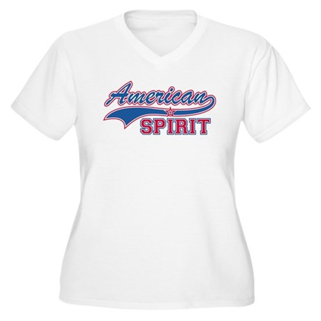 American Spirit Women's Plus Size V-Neck T-Shirt
