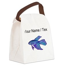 Custom Blue Betta Fish Canvas Lunch Bag