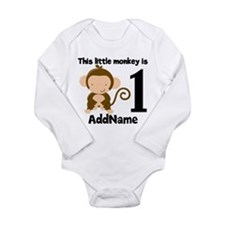 1st Birthday Monkey Personalized Body Suit