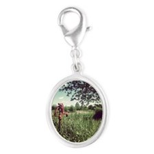 Grassy Knoll Silver Oval Charm