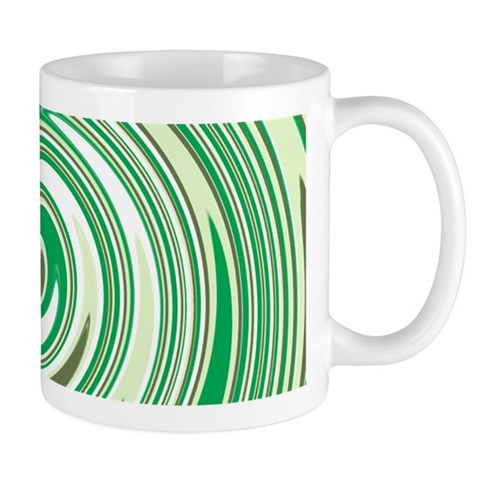 Green circular pinwheel design Mugs