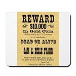 Wanted Sam & Belle Starr Mousepad