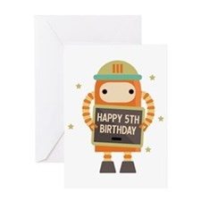 Happy 5th Birthday Retro Robot Greeting Cards