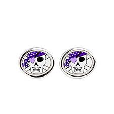 Purple Pirate Crossbones Oval Cufflinks
