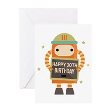 Happy 30th Birthday retro robot Greeting Cards