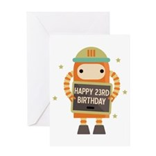 Happy 23rd Birthday retro robot Greeting Cards