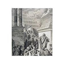 Jonah preaching to Ninevites, by Gus Throw Blanket