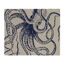 Dark blue Vintage Wood cut Octopus Throw Blanket