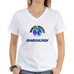 World's Greatest GRANDCHILDREN Women's V-Neck T-Sh