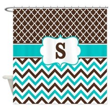 Brown Teal Chevron Quatrefoil Monogram Shower Curt