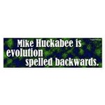 Huckabee is evolution backwards bumpersticker