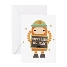 Happy 48th Birthday Retro Robot Greeting Cards