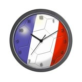 French Flag Soccer Ball  Wall Clock
