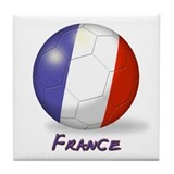France Flag Soccer Ball Tile Coaster