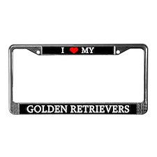 Love Golden Retrievers License Plate Frame