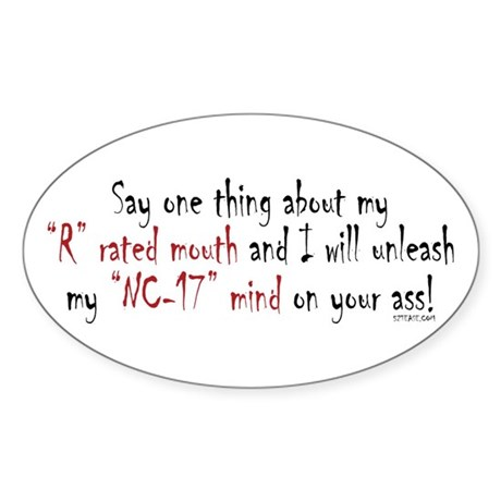 R-Rated Mouth Oval Sticker