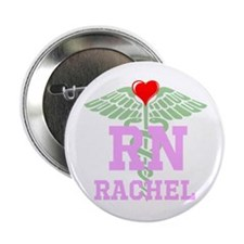 "Personalized Rn Heart Caduceus 2.25"" Button"
