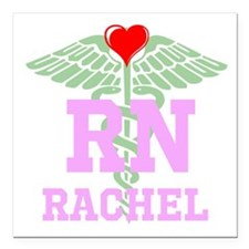 "Personalized Rn Heart Square Car Magnet 3"" X"