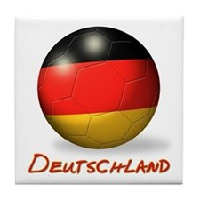 Deutschland Flag Soccer Ball Tile Coaster