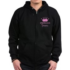 Personalized pink princess crown Zipped Hoodie