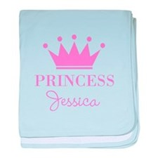 Personalized pink princess crown baby blanket