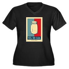 Unique Canning Women's Plus Size V-Neck Dark T-Shirt